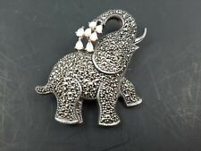 w/ Mother of Pearl 17.4 Grams 925 Sterling Silver Marcasite Elephant Brooch Pin