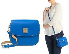 $208 Dooney & Bourke Beacon Leather Saddle Crossbody Shoulder Bag in Royal Blue