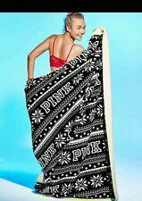 Victorias Secret Pink Fair Isle Graphic Sherpa XL LIM ED Plush Throw Blanket NWT