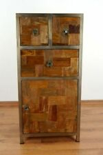 Industrial Design Chest of Drawers Handmade Cabinet Reclaimed Teak Wood Metal