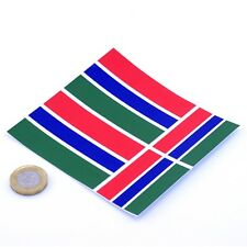 """Gambia Flag Stickers x4 3"""" & 2"""" Car Vinyl Rally Racing Window Decals"""