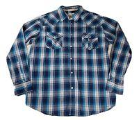 Coastal Mens Size XL Pearl Snap Plaid Long Sleeve Button Down Shirt Blue White