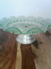 vintage green hobnail glass cake stand tea party scones afternoon tea