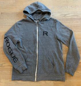 ROGUE FITNESS Zip Up Hoodie Hooded Sweatshirt Jacket Adult XL Grey