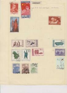2143 China album page 15 stamps mixed condition