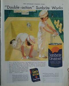 1932 Sunbrite cleanser soap boy girl sailor clean yellow bathtub vintage ad