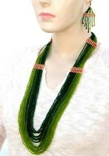 NEW STATEMENT GREEN HANDMADE NECKLACE EARRINGS  SET S35/9