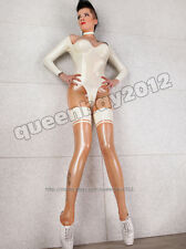 New!! 100% Latex Rubber Gummi 0.45mm Catsuit Bodysuit Suit Fashion White Party