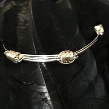 Wire Detail Adjustable Bangle Bracelet 8.25� Estate Sterling Silver & 14K Gf