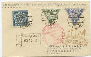 Lettland Zeppelin R Brief Südamerikafahrt 1932 Riga Pernambuco Brasilien