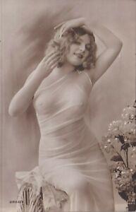 Original 1910 French Postcard Photo Voluptuous Nude Girl Fernande Jean Agelou
