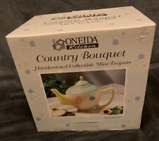 "Oneida Country Kitchen Bouquet Miniature China Teapot ""Spiral Floral"""