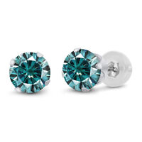 14K White Gold Stud Earrings Blue Round Created Moissanite 2.00ct DEW