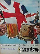 PUBLICITE KRONENBOURG BIERE D'ALSACE DRAPEAU ANGLAIS ANGLETERRE DE 1965 AD PUB