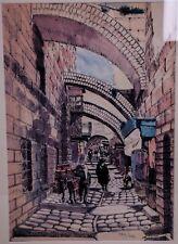 N. Cohen - Via Dolorosa Jérusalem Israël. Trés belle lithographie 1980.