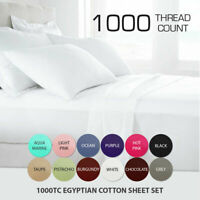 1000TC 100% Egyptian Cotton Flat Fitted Sheet Set Single/Double/Queen/King Size
