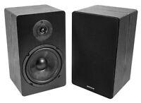 "Pair Rockville RockShelf 68B Black 6.5"" Home Bookshelf Speakers w/Kevlar Woofers"