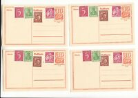 um 1921 / ungelaufen , 4 x Ganzsache Postkarte mit Nachfrankatur - im Besterhalt