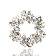 Bridal Wedding Bouquet Shiny Wreath White Rhienstones Brooch Pin Hair BR340