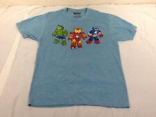 St966 Marvel Men's Light Blue Hulk Iron Man & Captain America T-Shirt Medium