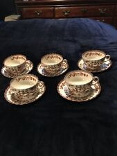 5 VINTAGE COELAND SPODE INDIA TREE CUPS AND SAUCERS  - OLD MARK - NICE