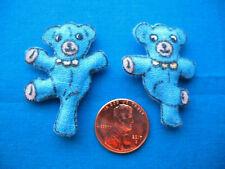 Charming Set of 2 Blue Dancing Bears Miniature Dollhouse Pillows