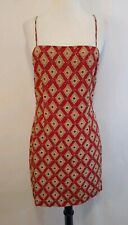 Hugo Buscati 10 Red Tan Print Silk beaded Sequin lined cocktail dress used