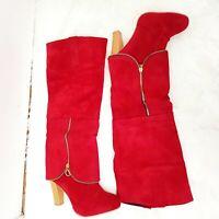 New Womens Red Knee High Faux Suede Boots Heel Zip Detail Slip On UK 8 EUR 42