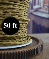 ANTIQUE BRONZE - Cloth Covered Twisted Wire 50ft Roll - Lamp Cord - Antique Fan