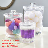 Set of 3 Premium Quality Clear Plastic Apothecary Jars 15oz 30oz 60oz