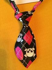 Dog Cat Costume Neck Tie Silky Feeling Black Pink White Cute Skeleton Girl Punk