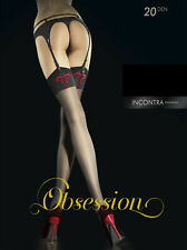 Incontra by Fiore beautiful sheer black stockings with red bow detail at the top