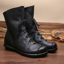 New Womens Leather Western Cowboy Boots Lace Up Flat Rubber Sole Riding Boots