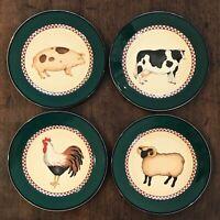 Set/ 4 Vtg. International Tableworks 18 Henry & Co Country/Farm Dessert Plates