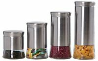 Home Basic NEW 4 Piece Essence Canister Stainless Steel Food Storage Set CS44446