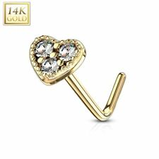 Rod L heart three rhinestone white Piercing nose Yellow gold 14 carat