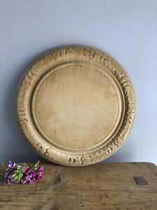 Vintage Antique Carved Wooden Bread Board - Round Wood Carving Breadboard