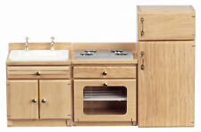 Dollhouse Furniture Kitchen Set/3 Pc. Oak Refrigerator,Sink,Stove NEW
