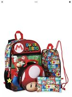 """Super Mario Bros 5 PC Backpack Set 16"""" School Bag Toad Insulated Lunch Bag"""