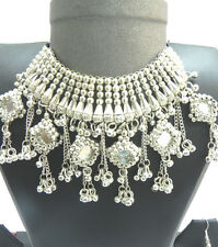 Choker Gypsy KUCHI TRIBAL Silver Necklace Belly Dance Ethnic Jewelry India Set