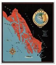 Alaska USA TONGASS National Forest MAP Travel Print Juneau Ketchikan circa 1940