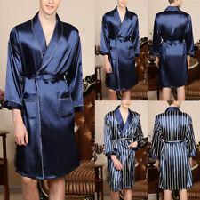 Uomo Raso di Seta Pigiama Kimono Accappatoio Vestaglia Indumenti da Notte Larga