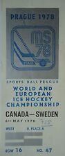 TICKET Eishockey WM 6.5.1978 Canada - Schweden in Prag