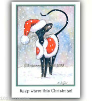 ORIENTAL BLACK CAT ART CHRISTMAS CARDS FROM ORIGINAL PAINTING by SUZANNE LE GOOD