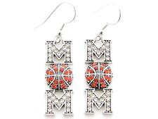 Basketball Mom Silver Plated Clear Crystal Wire Hook Earrings Jewelry Orange