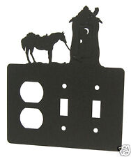 Outhouse & horse black metal double switch and outlet