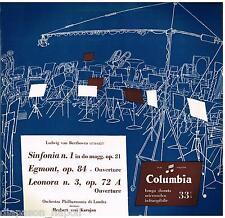 Beethoven: Symphony (Sinfonia) N.1, Egmont  / Karajan - LP Columbia QCX 10099