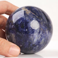 431g 68mm Large Natural Blue Sodalite Quartz Crystal Sphere Healing Ball Chakra