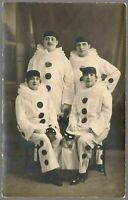 PIERROT MASCARADE PARTY SOCIAL HISTORY EARLY 1900´s ANTIQUE PHOTO POSTCARD