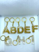Homemade Resin White and Gold Large Letter Keyrings Keychains